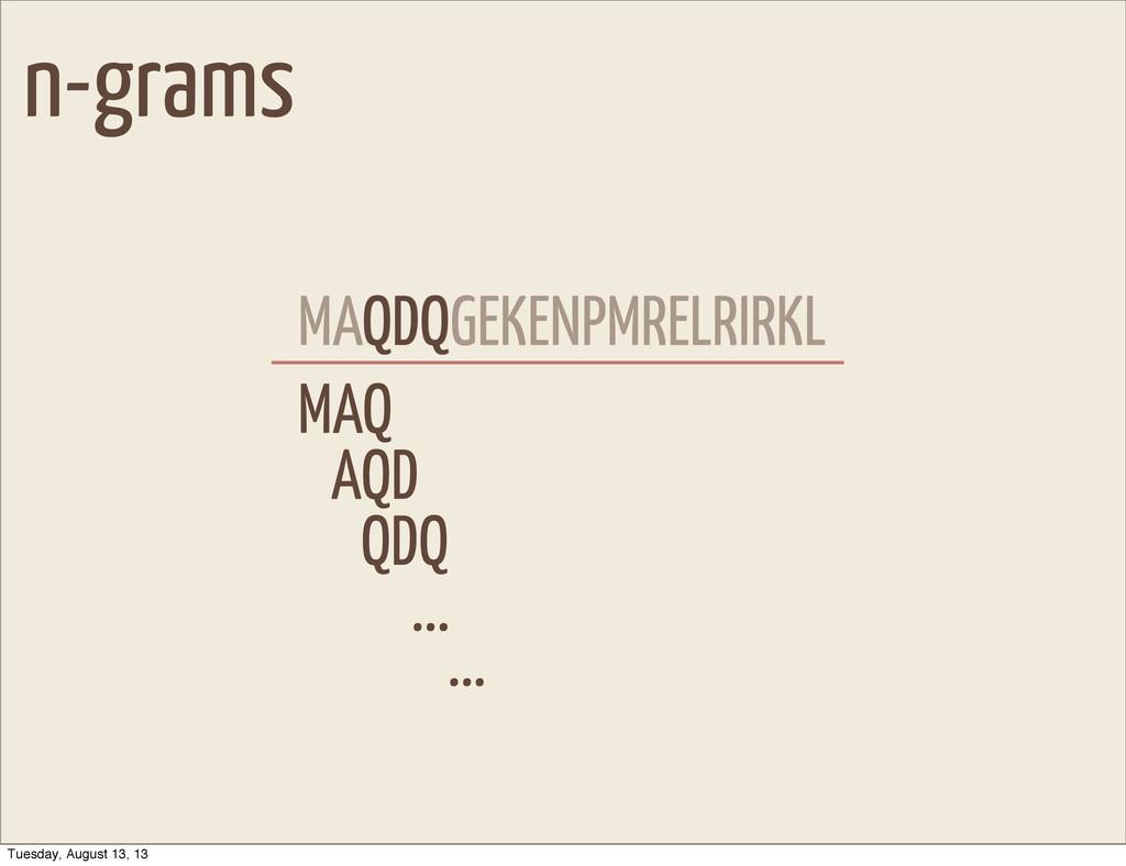 n-grams MAQDQGEKENPMRELRIRKL MAQ AQD QDQ QDQ .....