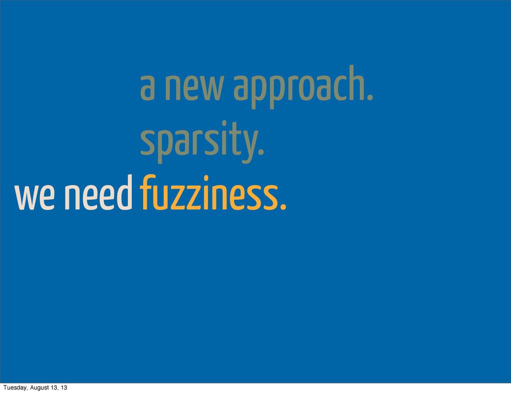 we need a new approach. sparsity. fuzziness. Tu...