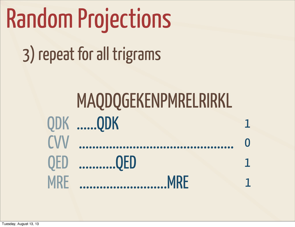 Random Projections 3) repeat for all trigrams M...