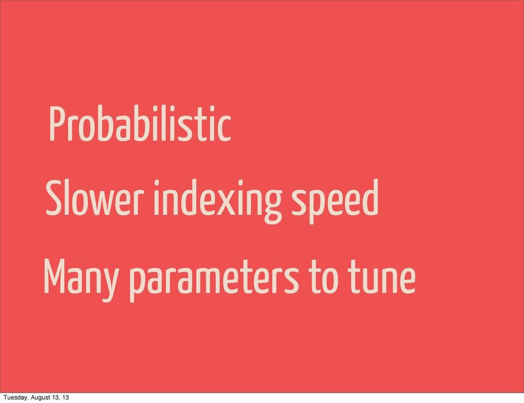 Probabilistic Slower indexing speed Many parame...