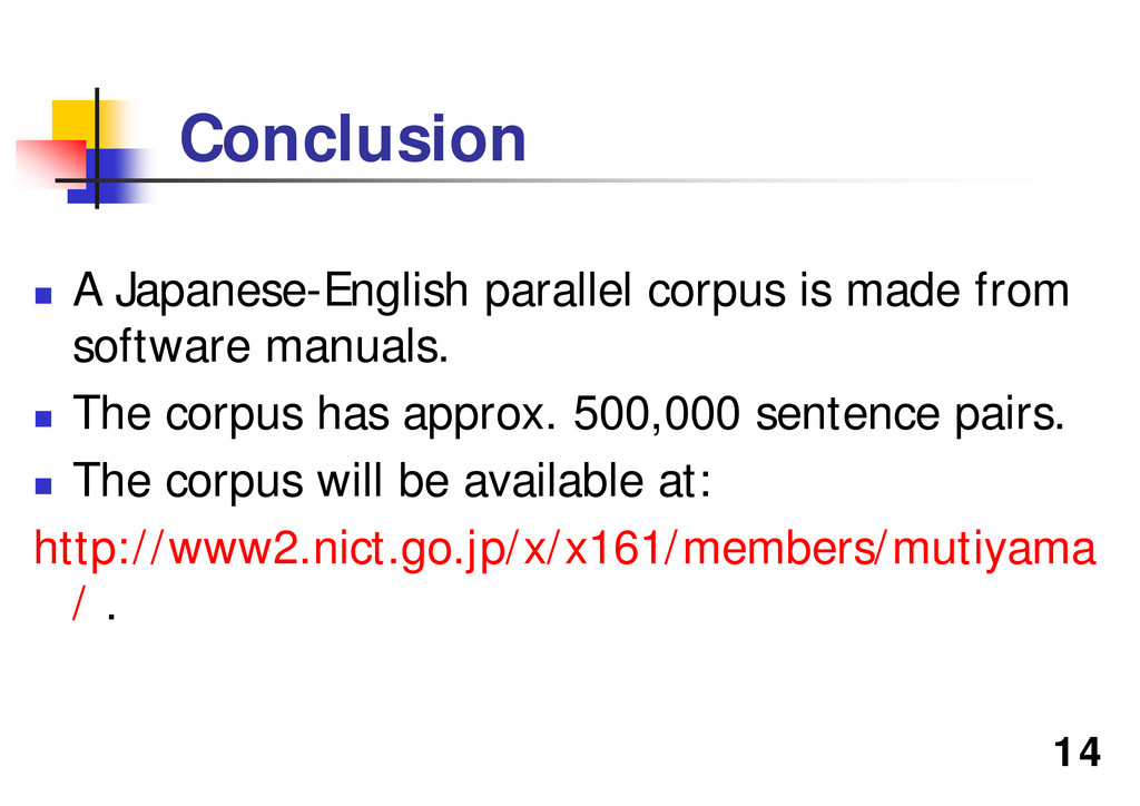 """14 Conclusion """" A Japanese-English parallel cor..."""