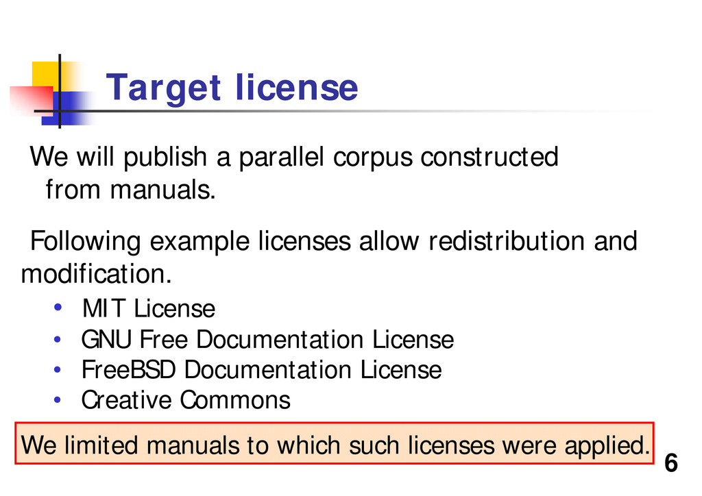 6 We will publish a parallel corpus constructed...