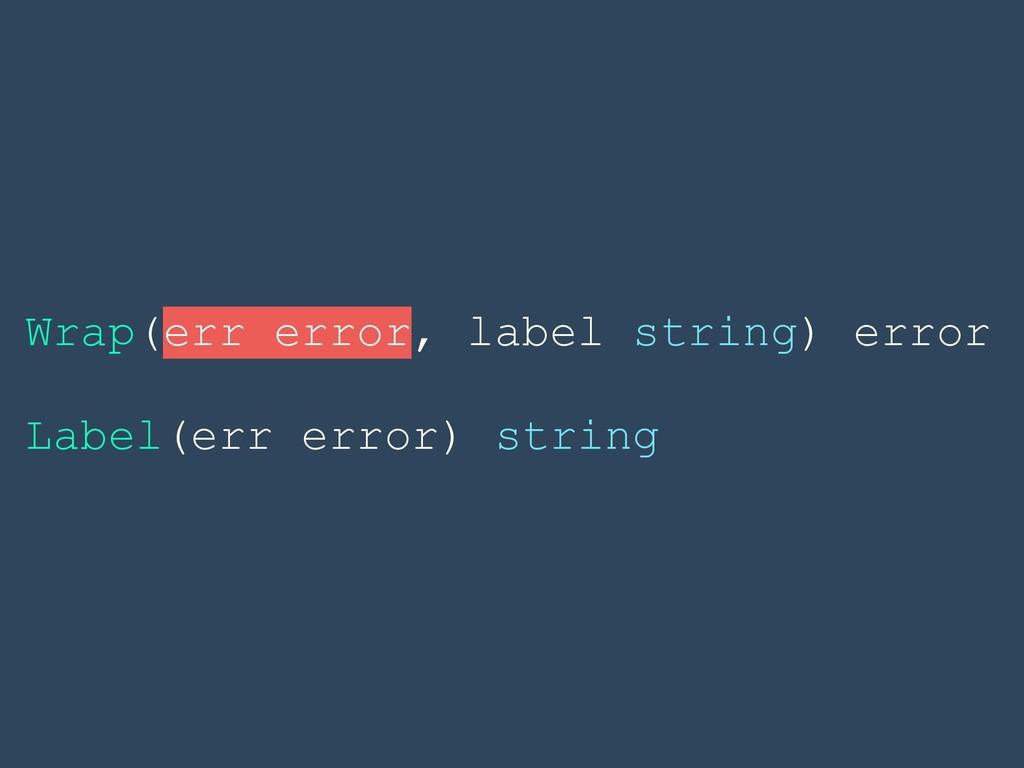 Wrap(err error, label string) error Label(err e...