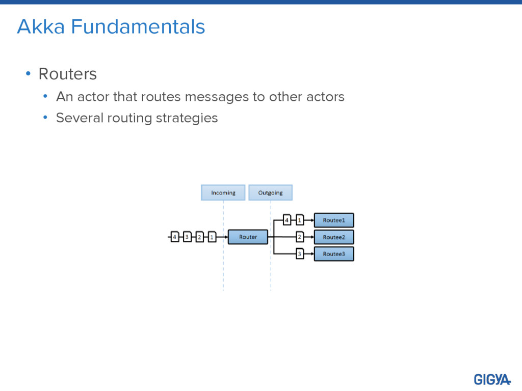 Akka Fundamentals • Routers • An actor that rou...