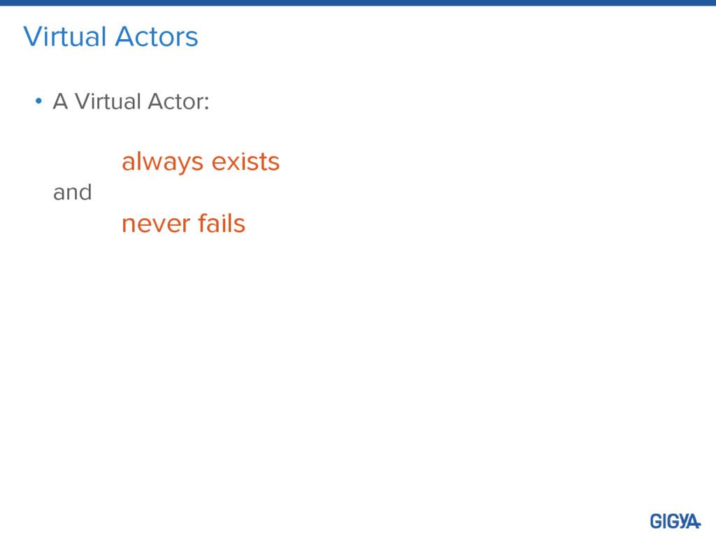 Virtual Actors • A Virtual Actor: always exists...