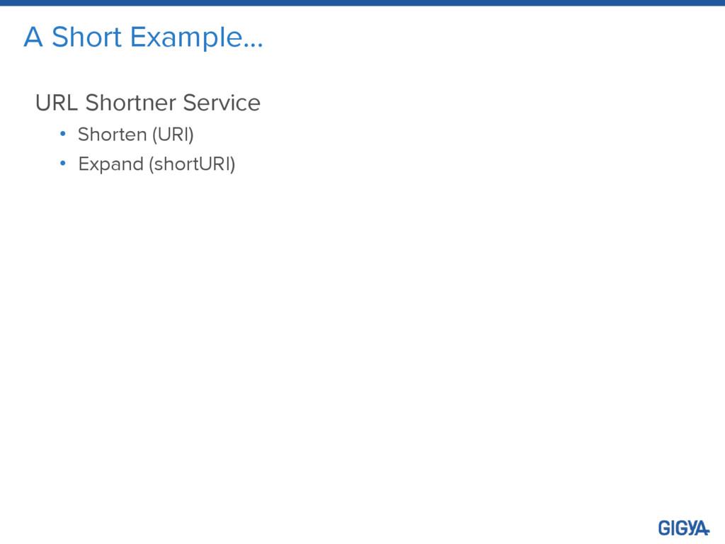 A Short Example… URL Shortner Service • Shorten...