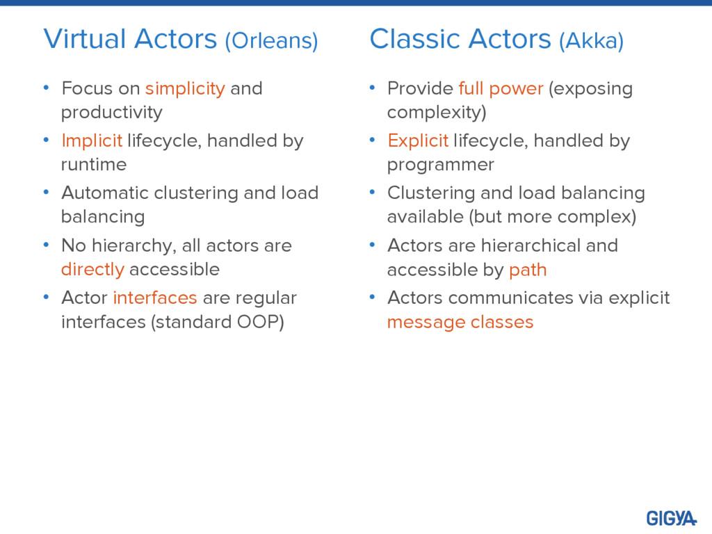 Virtual Actors (Orleans) • Focus on simplicity ...