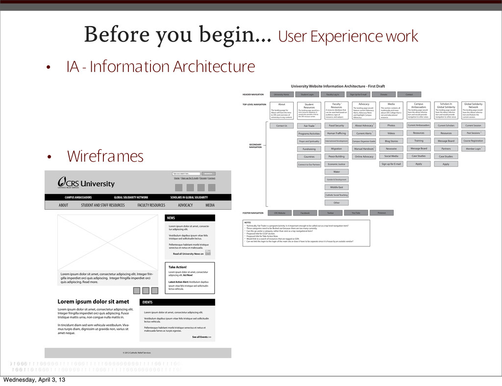 Before you begin... User Experience work • Wire...