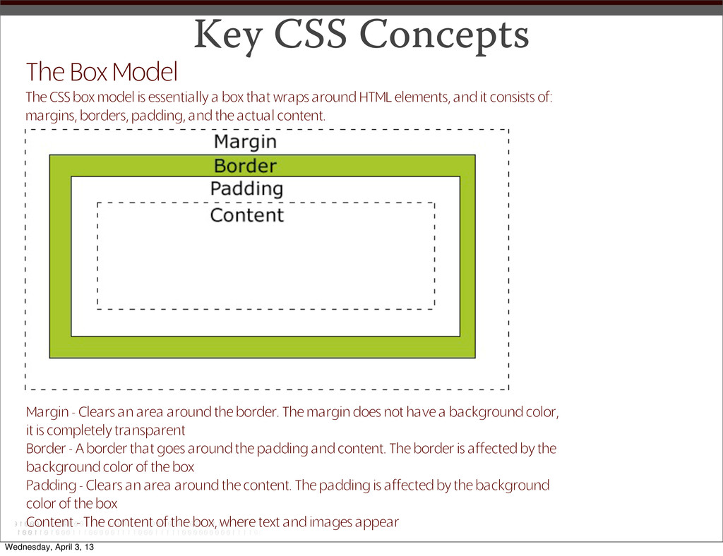 Key CSS Concepts The Box Model The CSS box mode...