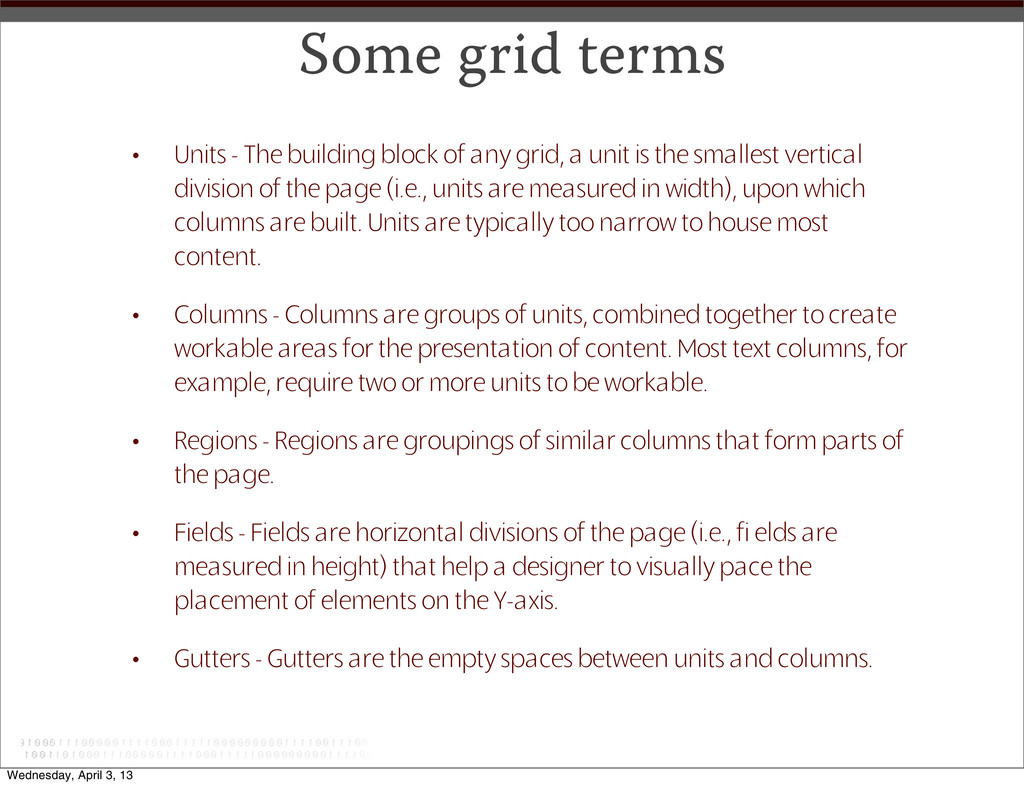 Some grid terms • Units - The building block of...