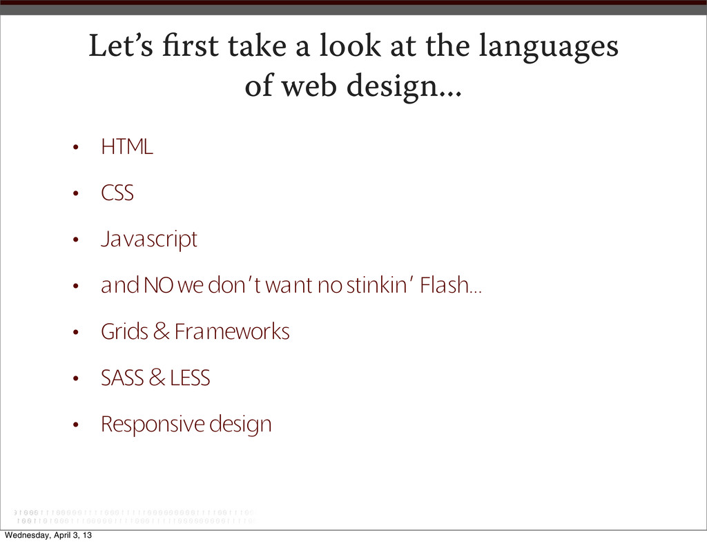 Let's first take a look at the languages of web ...