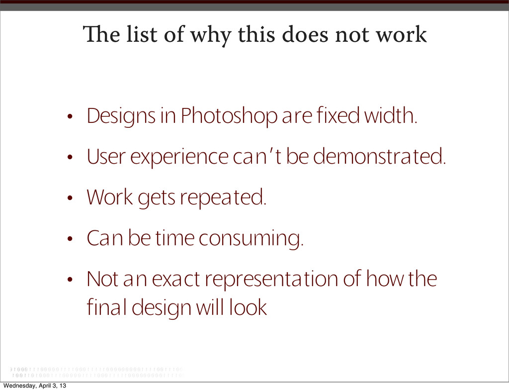 e list of why this does not work • Designs in ...