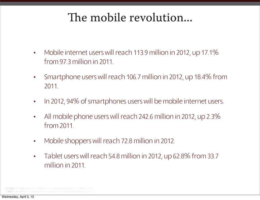 e mobile revolution... • Mobile internet users...