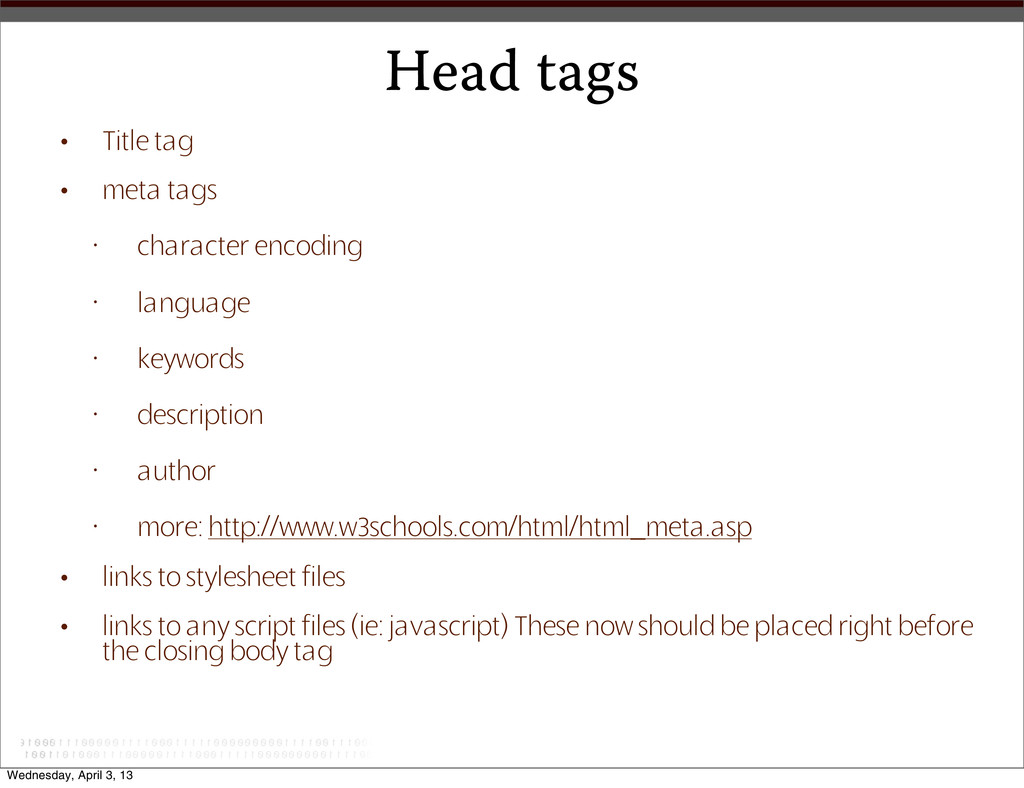 Head tags • Title tag • meta tags • character e...