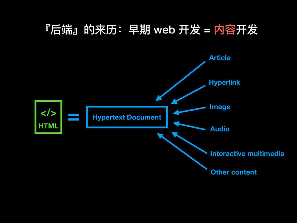 『后端』的来历:早期 web 开发 = 内容开发 Image Article Hypertex...
