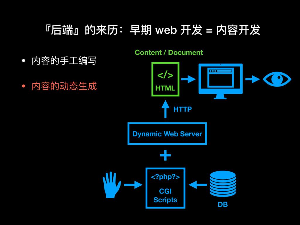 • 内容的⼿手⼯工编写  • 内容的动态⽣生成 『后端』的来历:早期 web 开发 = 内容开...