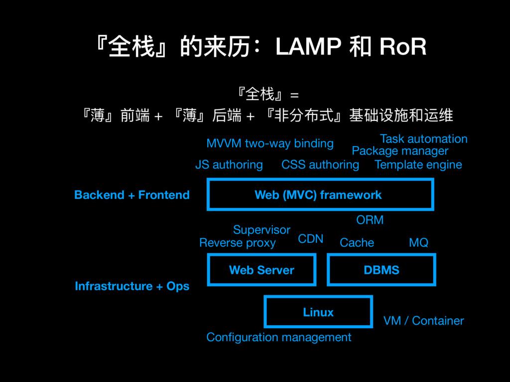 『全栈』的来历:LAMP 和 RoR Web (MVC) framework DBMS Web...