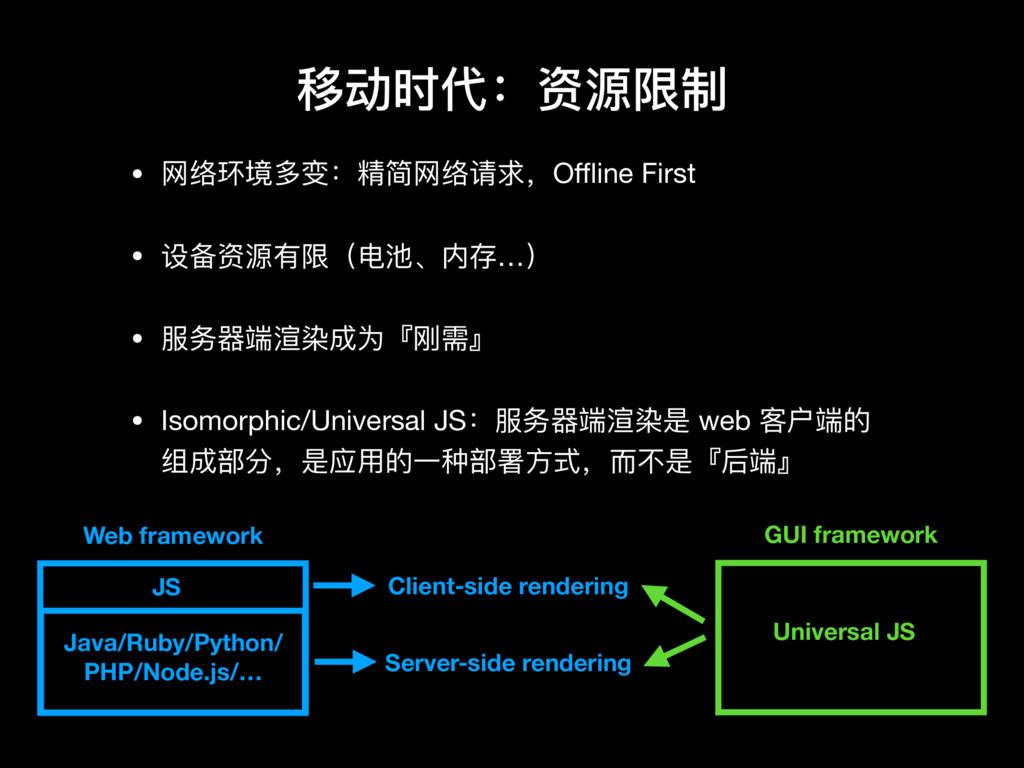 移动时代:资源限制 • ⽹网络环境多变:精简⽹网络请求,Offline First  • 设备资源...