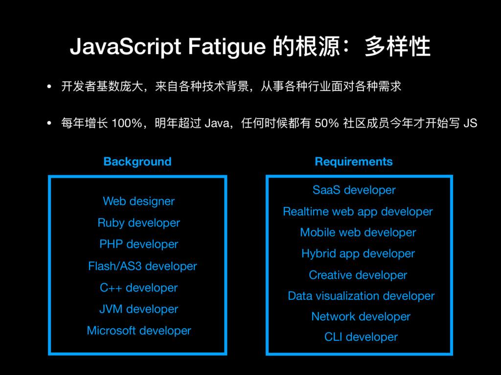 • 开发者基数庞⼤大,来⾃自各种技术背景,从事各种⾏行行业⾯面对各种需求  • 每年年增⻓长 ...