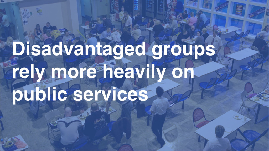 Disadvantaged groups rely more heavily on publi...