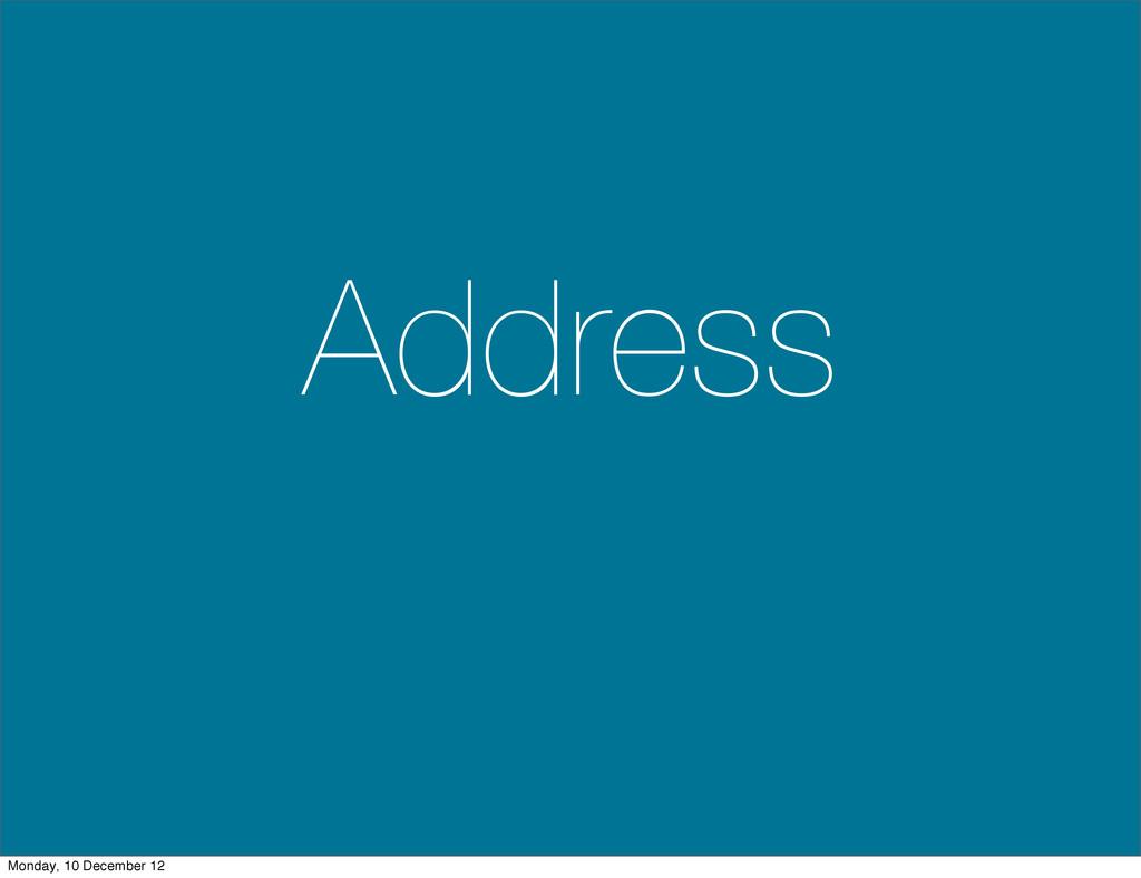 Address Monday, 10 December 12