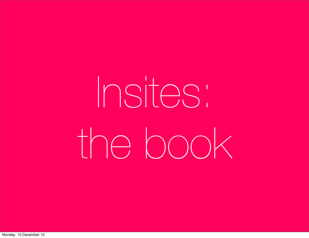 Insites: the book Monday, 10 December 12