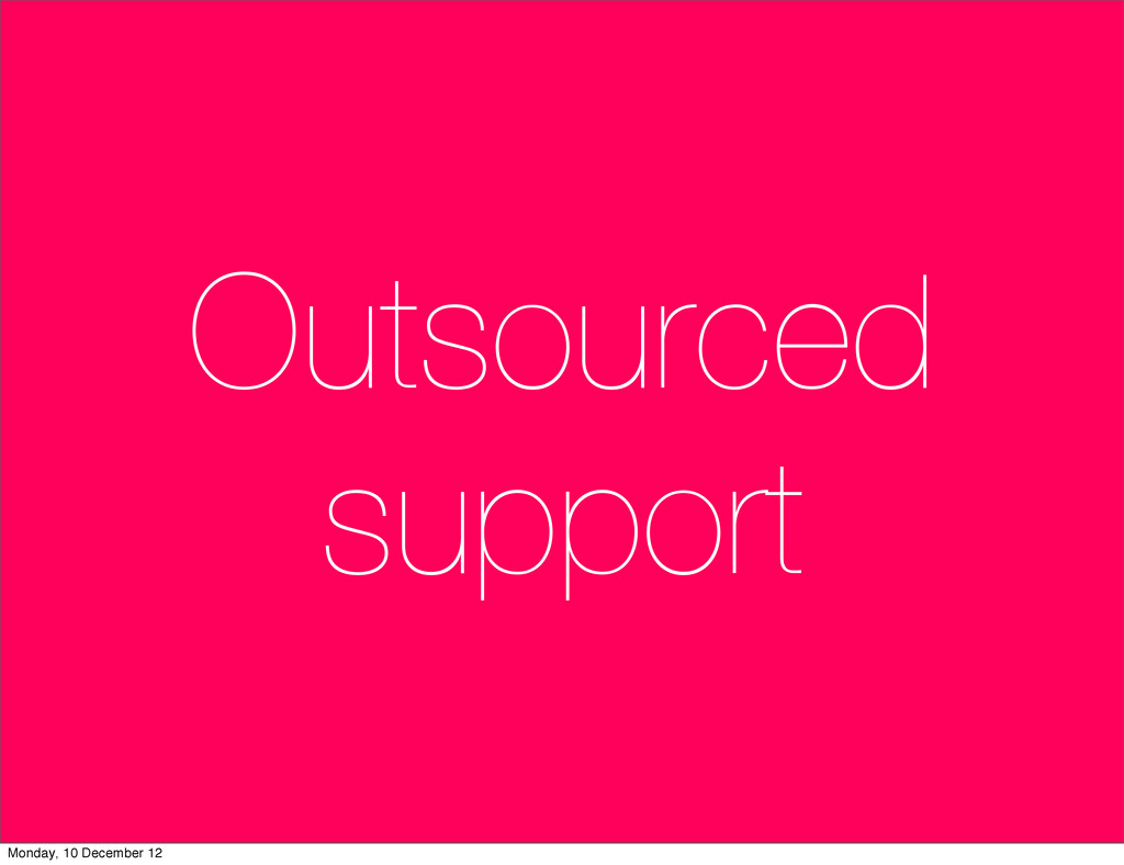 Outsourced support Monday, 10 December 12