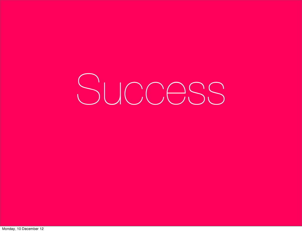 Success Monday, 10 December 12