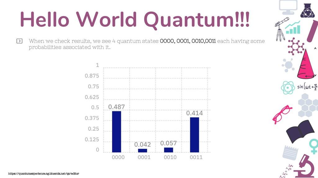 Hello World Quantum!!! When we check results, w...
