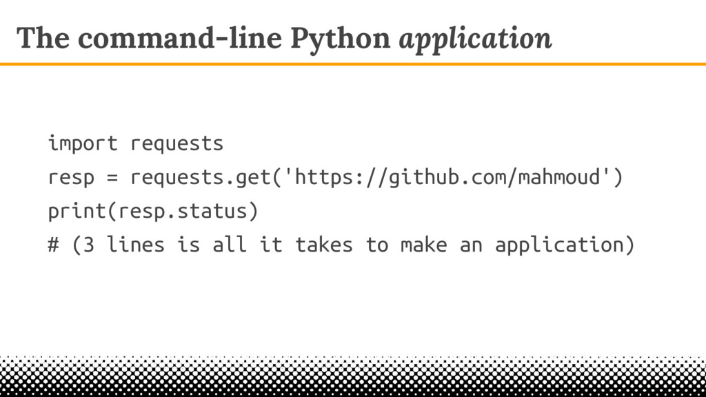 The command-line Python application import requ...