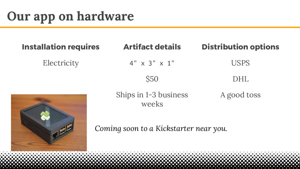 "Our app on hardware Artifact details 4"" x 3"" x ..."