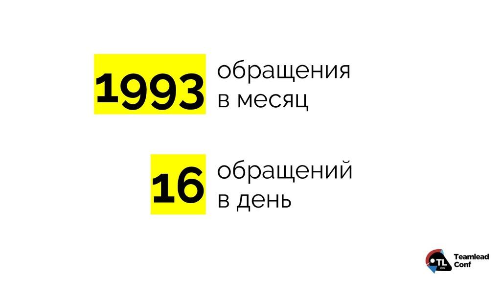 16 1993 обращения в месяц обращений в день