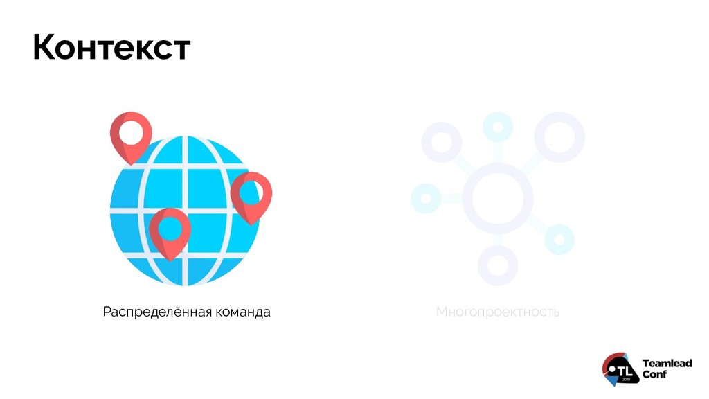 Контекст Распределённая команда Многопроектность