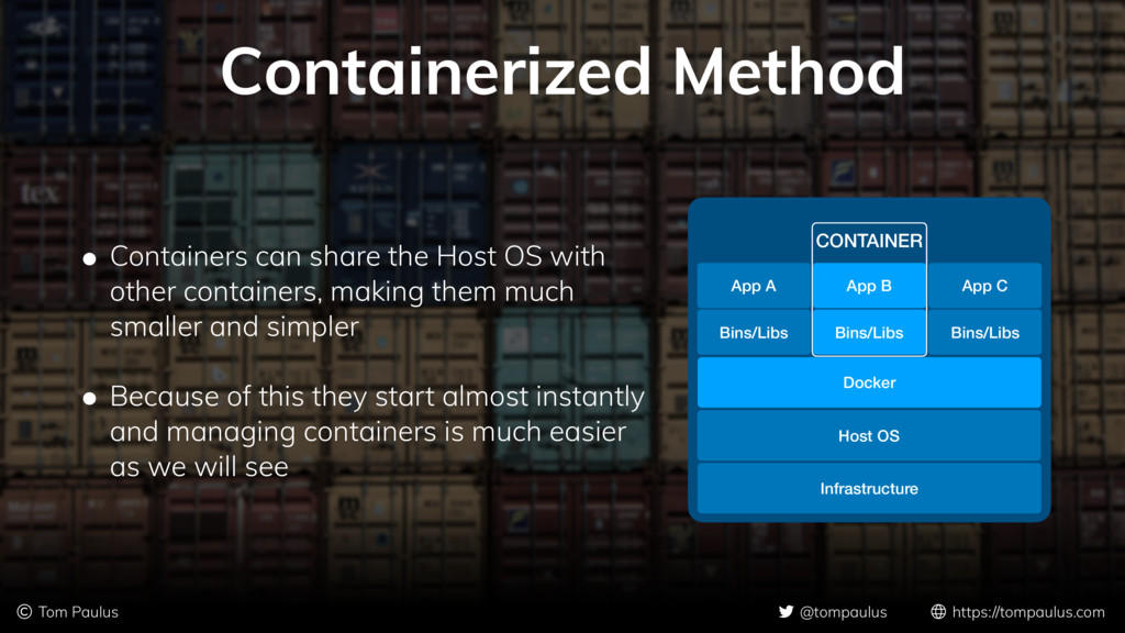 Containerized Method • Containers can share the...