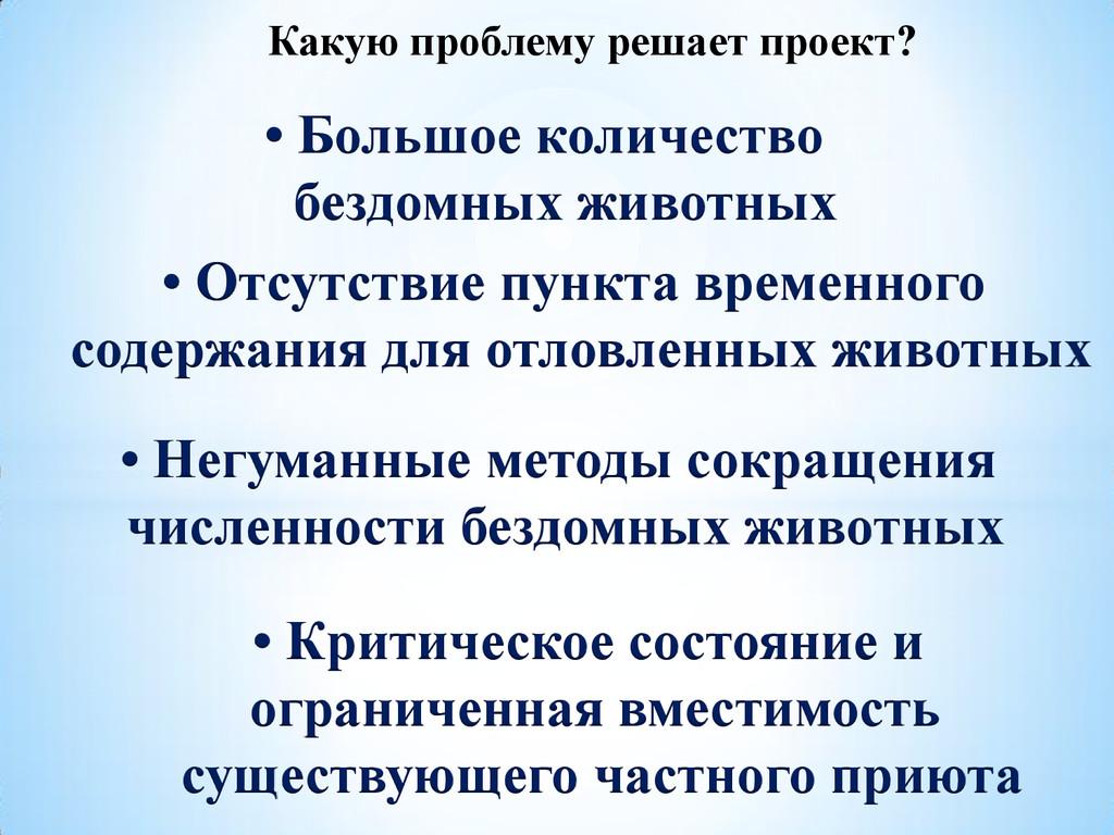Какую проблему решает проект? • Большое количес...