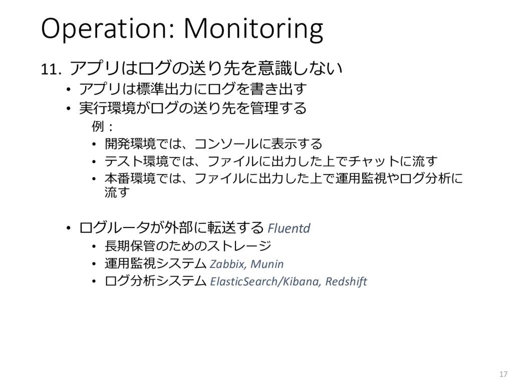 Operation: Monitoring 11. アプリはログの送り先を意識しない • アプ...