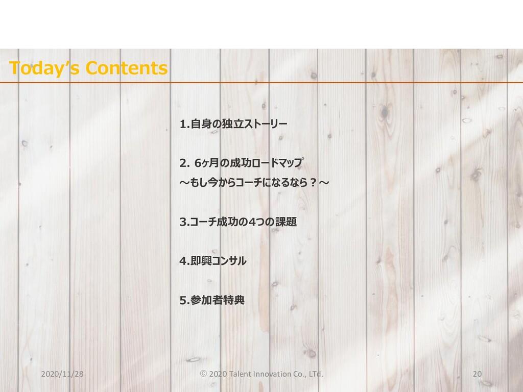 Today's Contents 1.自身の独立ストーリー 2. 6ヶ月の成功ロードマップ 〜...