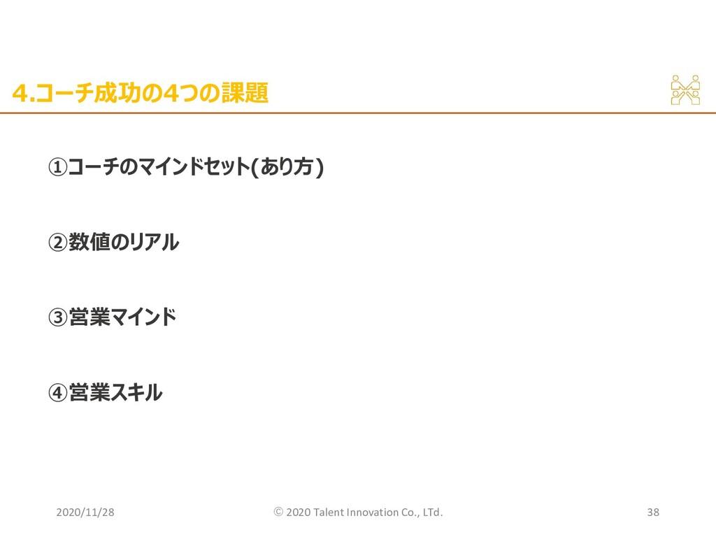 4.コーチ成功の4つの課題 ①コーチのマインドセット(あり方) ②数値のリアル ③営業マインド...