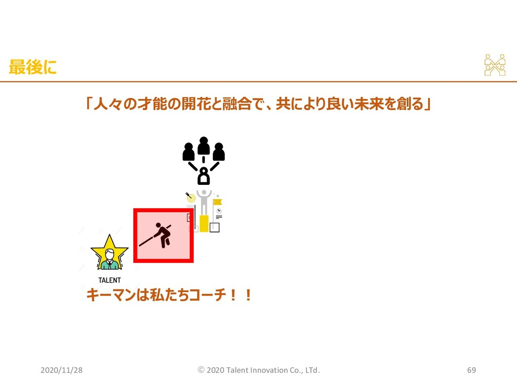 最後に 2020/11/28 ©︎ 2020 Talent Innovation Co., L...