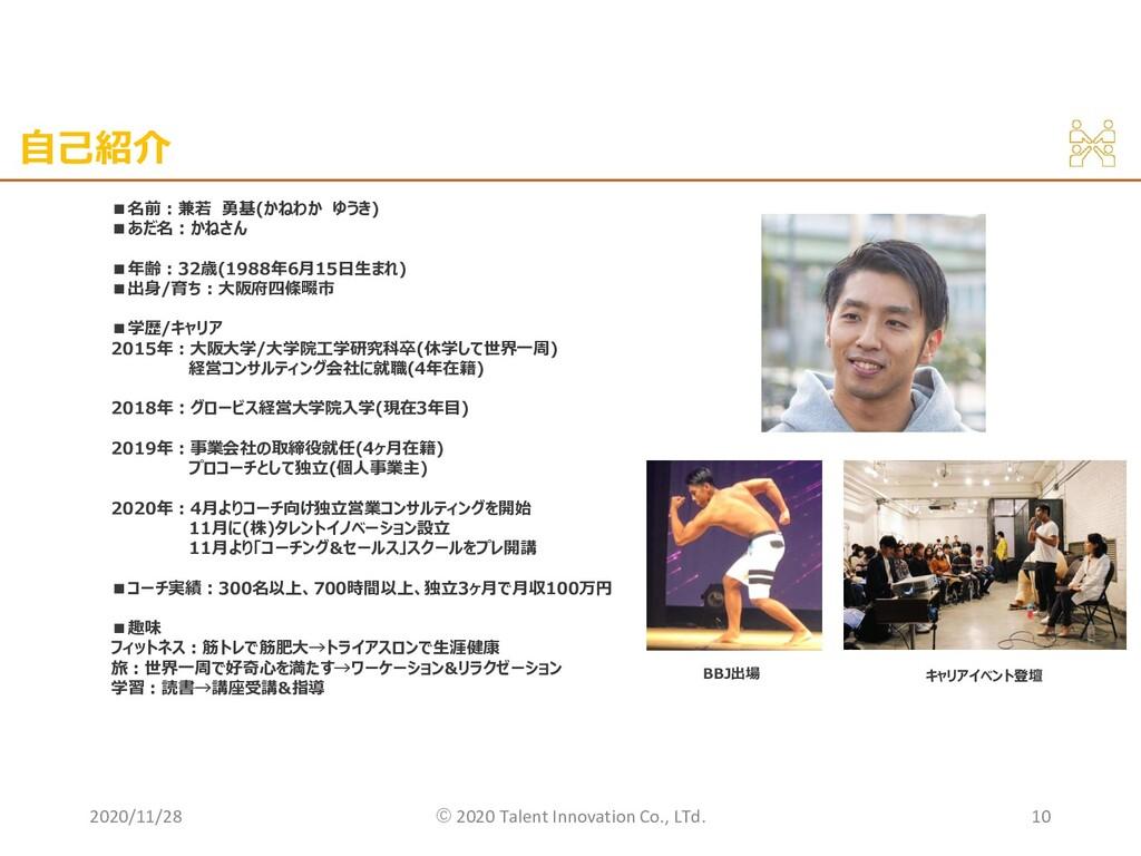 自己紹介 2020/11/28 ©︎ 2020 Talent Innovation Co., ...