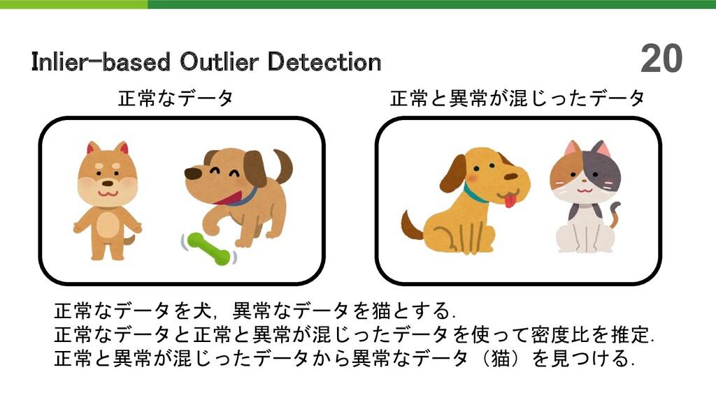 20 正常なデータ 正常と異常が混じったデータ 正常なデータを犬,異常なデータを猫とする. 正...