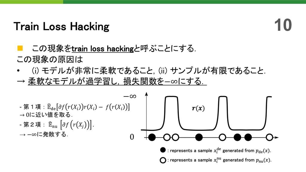 n この現象をtrain loss hackingと呼ぶことにする. この現象の原因は • (...