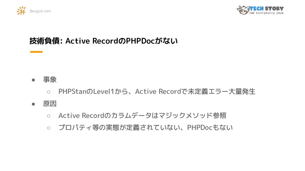 技術負債: Active RecordのPHPDocがない ● 事象 ○ PHPStanのLe...