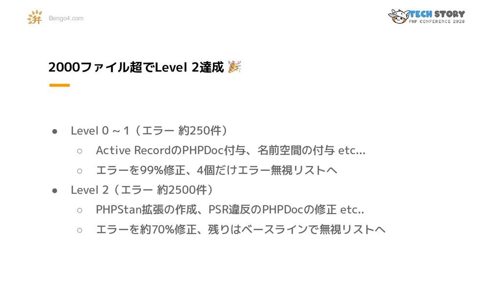 2000ファイル超でLevel 2達成 ● Level 0 ~ 1(エラー 約250件) ○ ...