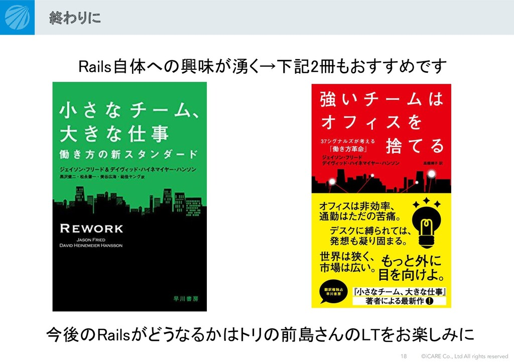 ©iCARE Co., Ltd All rights reserved Rails自体への興味...