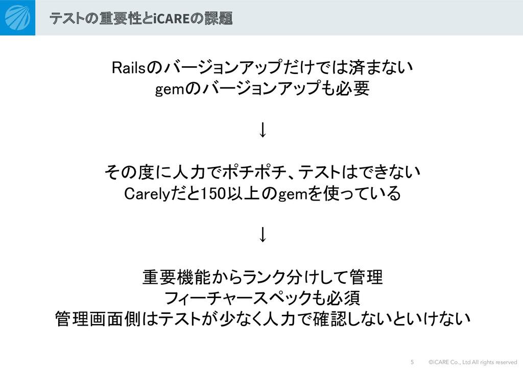 ©iCARE Co., Ltd All rights reserved Railsのバージョン...