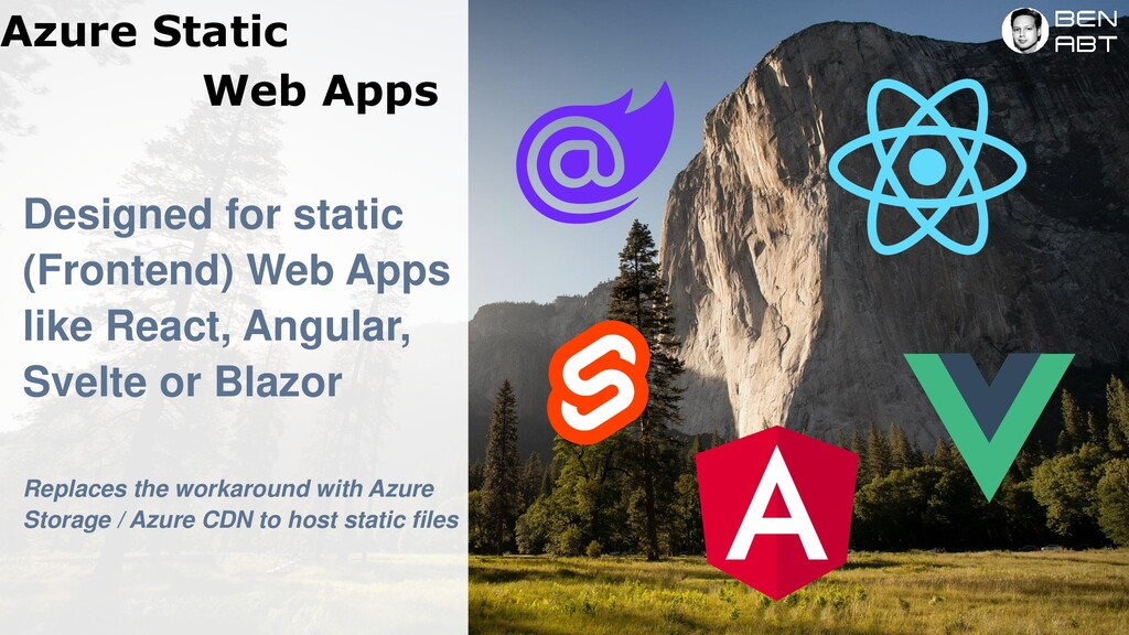Azure Static Web Apps Designed for static (Fron...