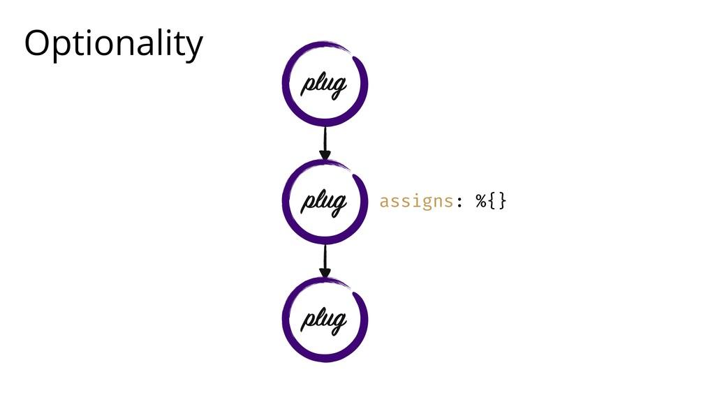 Optionality assigns: %{} plug plug plug
