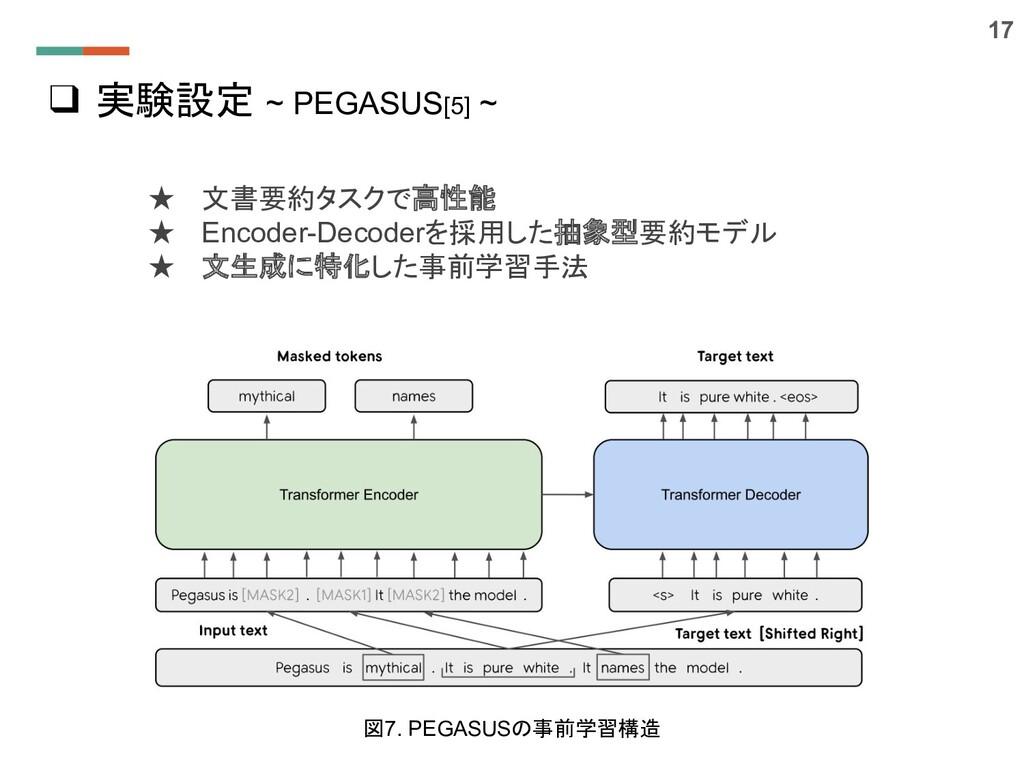❑ 実験設定 ~ PEGASUS[5] ~ ★ 文書要約タスクで高性能 ★ Encoder-D...