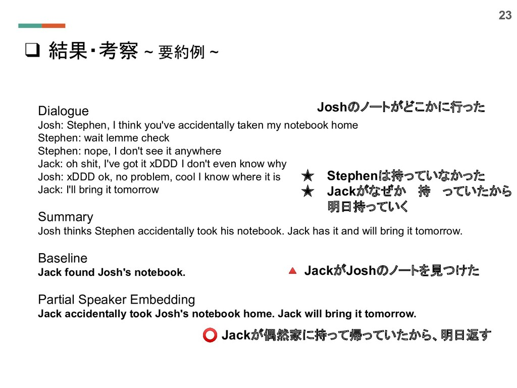 ❑ 結果・考察 ~ 要約例 ~ 23 Dialogue Josh: Stephen, I th...
